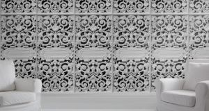 THREE OF THE BEST . . . METALLICA The decorative metalwork and architectural details of this cast iron wallpaper  has an almost lace-like effect . It is one of a selection of styles available from UK-based Shop On Your Doorstep (00 44-1843 808061 shoponyourdoor step.com) Each roll, 50cm by 250cm, costs £70 (€85.25) ex delivery.