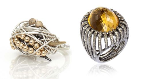 Encrusted ring, €285, Kat and Bee at coldlillies.com Citrine basket ring, €8,500, Annoushka at Brown Thomas Dublin, annoushka.com