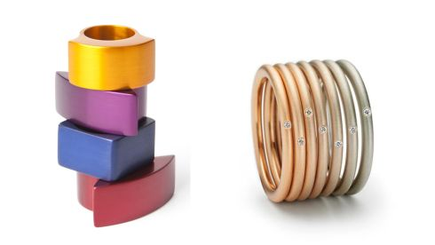 Aluminium square and concave rings, €100 each, Designyard, Dublin 2 'Aura' stacking rings, €450, Stonechat, Westbury Mall, Dublin
