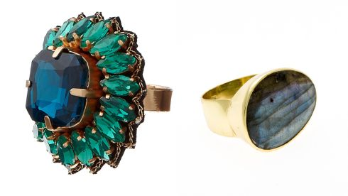 Monte Carlo statement ring, €19.90, Acessorize. Large faceted labradorite and vermeil ring, €129, Juvi at Kilkenny Design, Dublin 2.
