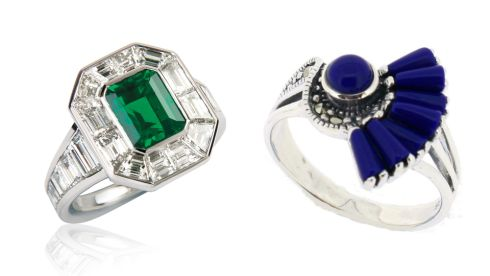18 carat gold, emerald and baguette cut diamond ring- €34,470, Weir & Sons. Lapis marcasite ring, €73 (inc p+p), chicagojewellery.ie
