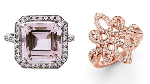 Morganite diamond platinum engagement cocktail ring, €11,280, Natasha Sherling at Brown Thomas.  Love knot ring, €198, Thomas Sabo at Arnotts.