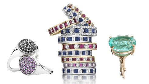 Pave silver ring with purple cubic zirconia, €199 each, Pandora at House of Fraser.  Rings, €1500 each, Loyes Diamonds, Baggot St., Dublin 2.  Chupi aqua quartz, €119, The Loft Market, Powerscourt Townhouse, Dublin 2.