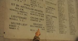 The Menin Gate memorial in Ypres, Belgium includes the names of thousands of Irish war dead. Photograph: Aidan Crawley