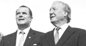 Denis Foley and Charles Haughey step together at the opening of the Dingle Way in tralee ion 1988.