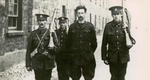 Éamon de Valera under arrest in Richmond Barracks, Dublin after the 1916 Rising. Fifty years later his role in that event was used to assist his re-election as president.