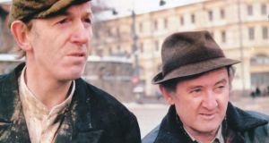 'Snow was falling softly on Red Square, where two of Ireland's most celebrated actors stood freezing, dressed in the rural garb of a pair of famous Irish dramatic characters – Tom Hickey looking gaunt and desolate as Monaghan bachelor Patrick Maguire and Niall Toibin, all swagger and bravado, defiantly dangerous as the Kerryman Bull McCabe'
