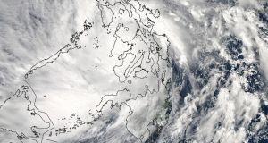 Super-Typhoon Haiyan moves over the central Philippines in this satellite image taken at 05:10 GMT/12:10am EDT today. Photograph: Nasa/Reuters