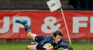 Dolphin's Darren Sweetham scores his side's crucial try against Cork Constitution at Musgrave Park. Photo: James Crombie/Inpho