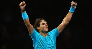 Rafael Nadal of Spain celebrates victory in his men's singles match against Tomas Berdych of the Czech Republic during day five of the  ATP World Tour Finals at O2 Arena London, last night. Photograph: Clive Brunskill/Getty Images