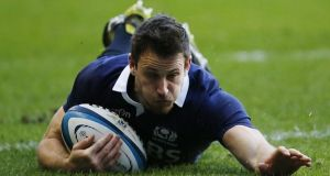 Scotland's Tommy Seymour scores a try against Japan  at Murrayfield. Photograph: Danny Lawson/PA Wire