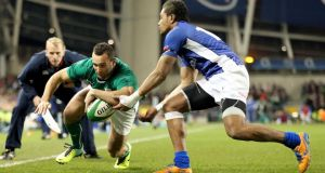 Ireland debutant Dave Kearney scores the first of two tries against Samoa. Photograph: Dan Sheridan/Inpho