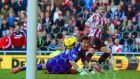 Phil Bardsley of Sunderland scores past Costel Pantilimon of Man City in  the  Premier League match  at the Stadium of Light. Photograph: Michael Regan/Getty Images