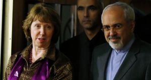 EU foreign policy chief Catherine Ashton and Iranian foreign minister Mohammad Javad Zarif at a news conference at the end of the Iranian nuclear talks in Geneva yesterday. Photograph: Reuters/Jason Reed