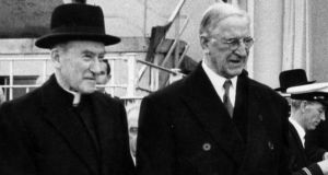 Former Catholic Archbishop of Dublin John Charles McQuaid with Éamon de Valera. When the Adoption Act, 1952, was crafted, formalising the adoption process in the Republic, every line of the proposed Bill was sent to  McQuaid for his scrutiny.