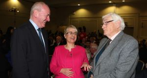 Former SDLP leaders Mark Durkan and Margaret Ritchie with the former deputy leader of the party Seamus Mallon at the annual SDLP conference, in Armagh. Photograph: Bill Smyth/PA Wire