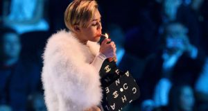 Singer Miley Cyrus at the MTV Europe Music Awards at the Ziggo Dome in Amsterdam last night. Photograph: Remko De Waal/Reuters.
