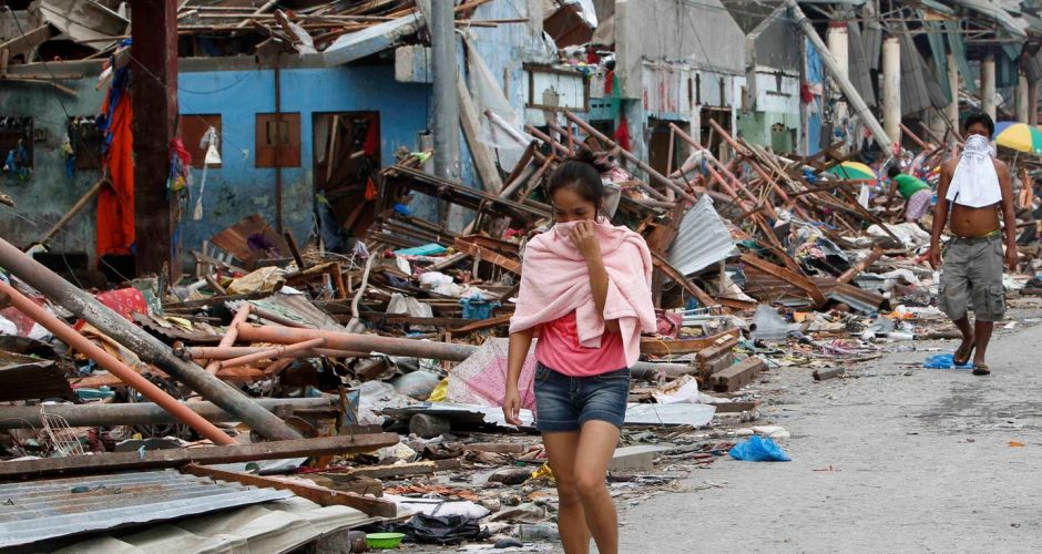 Typhoon Haiyan devastates the Philippines