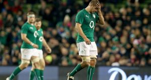 Chris Henry goes off injured during the game against Samoa at the Aviva stadium on Saturday. Photograph: Dan Sheridan/Inpho