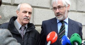 Joe Murphy left, Sligo County Council, and solicitor Dermot Hewson speaking to reporters outside the Supreme Court  yesterday. Photograph: Cyril Byrne / The Irish Times