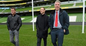 Republic of Ireland manager Martin O'Neill and assistant manager Roy Keane with FAI Chief Executive John Delaney at  the Aviva Stadium. Photograph: David Maher/ Sportsfile