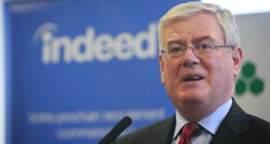 Tánaiste Eamon Gilmore during an investment announcement of 100 new jobs at Indeed.com  in Dublin, yesterday. Photograph: Gareth Chaney/Collins