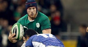 Ireland's Sean O'Brien in action against Johnny Leota of Samoa. Photograph: Dan Sheridan/Inpho