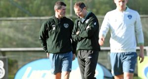 The new Republic of Ireland management team of Martin O'Neill and Roy Keane take their first training session at Gannon Park in Malahide. Photograph: Donall Farmer/Inpho