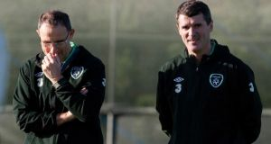 Manager Martin O'Neill and assistant manager Roy Keane take their first  Republic of Ireland  training session at Gannon Park in Malahide. Photograph:  Andrew Paton/Getty Images