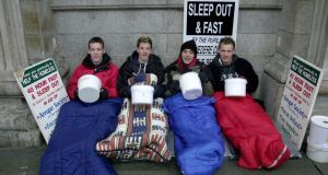 Students sleeping out for charity at Christmas. The campaign aims to celebrate the givers and encourage more people to give.