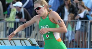 Aileen Reid, seen here on the running leg in the Elite Women's Series race in the  ITU World Triathlon in Auckland, is The Irish Times/Irish Sports Council's  joint-Sportswoman of the Month for December. Photograph: Fiona Goodall/Photosport
