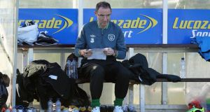 Martin O'Neill keeps a close eye on Republic of Ireland training at Malahide on Tuesday afternoon. Photograph: Donall Farmer/Inpho