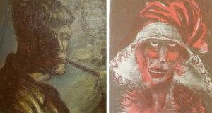 A combination photograph of two formerly unknown paintings by German artist Otto Dix beamed on to a wall on November 5th in an Augsburg courtroom