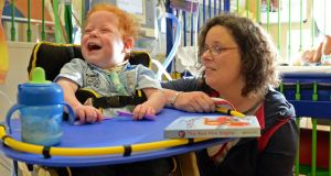 Dylan Gardiner and his mother Caroline at Our Lady's Children's Hospital, Crumlin, Dublin. Photograph: Eric Luke