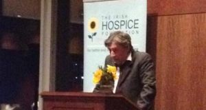 Gabriel Byrne addresses the New York audience
