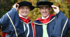 Brian O'Driscoll and cyclist Sean Kelly pictured at Dublin City University where Brian, Sean and Katie Taylor (who was not present) were confered with Honorary Doctorates in Philosophy in recognition of their contribution to Irish sport. Photograph:  Colin Keegan/Collins