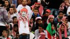 A Jordanian fan keeps the faith during today's World Cup play-off against Uruguay. Photograph: Muhammad Hamed/Reuters