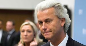 Geert Wilders, leader of the Netherlands's Party for Freedom, and far-right leader Marine Le Pen of France, address a news conference in The Hague today. Photograph: Toussaint Kluiters/Reuters