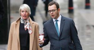 Former News of the World editor Andy Coulson and his wife Eloise Patrick arriving at the Old Bailey courthouse in London. Photograph: Reuters
