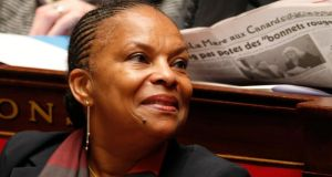 French Justice Minister Christiane Taubira attends a parliamentary questions session at the National Assembly in Paris yesterday. Photograph: Reuters/Charles Platiau