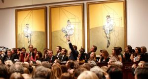 'Three Studies of Lucian Freud' by Francis Bacon which sold for a world record $142.4m during Christie's art sale in New York. Photograph: Christie's Images via Getty Images