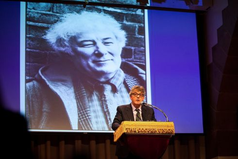 Paul Muldoon makes a contribution during the New York event. Photograph: Michael Nagle