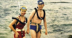 Underwater adventures: the first president of Comhairle Fo-Thuinn, Shane O'Connor, and his wife, Betty, about to go diving at Carraroe, Co Galway, around 1959