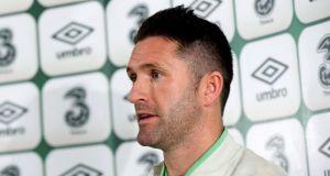 Republic of Ireland captain Robbie Keane at last night's press conference at the Aviva Stadium. Photograph: James Crombie/Inpho