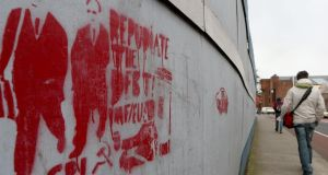 Graffiti on a wall in Dublin's city centre urging repudiation of the debt. Ireland has ruled out precautionary funding. Photograph: Press Association