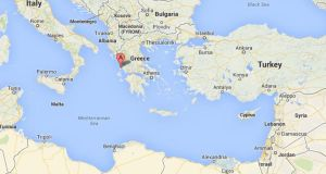 Twelve illegal immigrants, including at least four children, drowned after their boat capsized just off the Greek island of Lefkada (A on map) in the Ionian Sea today. Image: Google Maps.