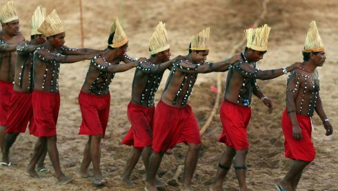 Xerente members in a traditional performance. Photograph: Paulo Whitaker/Reuters