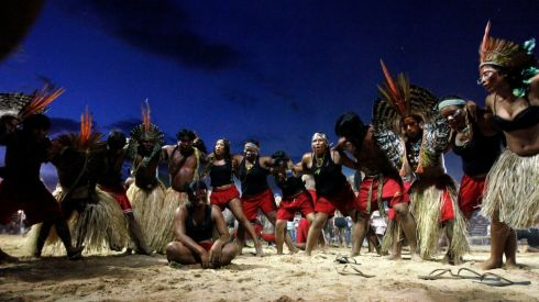 Shanenawa and Kuntanawa members perform a traditional dance. Photograph: Paulo Whitaker/Reuters
