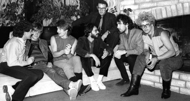 Him too: Paul McGuinness (back) with U2 at an Island Records party in 1980. Photograph: L Cohen/WireImage/Getty