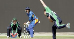 Raymond van Schoor of Namibia batting against Ireland today. Photograph: Getty Images